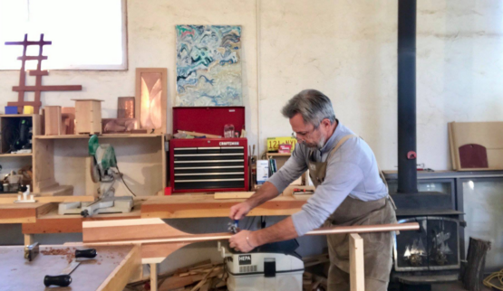 Patrick creating a custom SalamanderPaddle in his studio